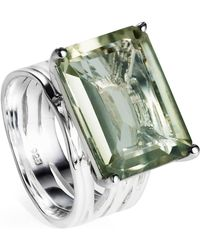 Neola Pietra Sterling Silver Cocktail Ring With Green Amethyst Gemstone - Metallic