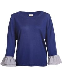 Asneh - Agnes Silk Cashmere Sweater With Ruffle Trimmed Sleeves - Lyst