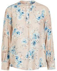 Lindsay Nicholas New York Poet Blouse In Pale Pink Floral Silk