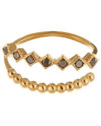 GFG Jewellery by Nilufer - Lara Double Row Black Diamond Ring - Lyst