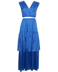 Roses Are Red Elle Set Skirt & Top In Blue