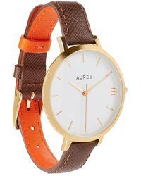 Auree Montmartre Yellow Gold Watch With Chestnut Brown & Orange Strap - Metallic