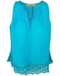 Haris Cotton Linen Gauze Top Flower Trimmed - Blue