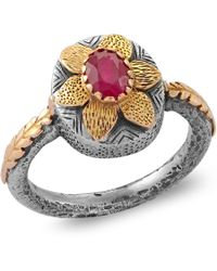 Emma Chapman Jewels - Lola Ruby Gold Flower Ring - Lyst