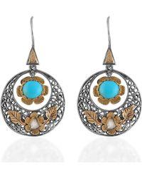 Emma Chapman Jewels Polki Diamond Turquoise Disc Earrings - Blue