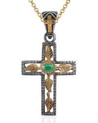 Emma Chapman Jewels Lucia Emerald Gold Cross - Green
