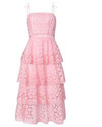 True Decadence Pink Organza Cut Work Tiered Midi Dress