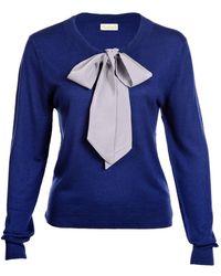 Asneh Helen Jumper Blue With Silver Grey Silk Tie