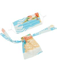 Emily and Fin Pleated Mask With Gift Bag Sorrento Summer - Blue