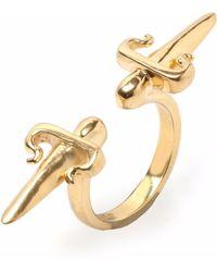 Leivan Kash Double Dagger Ring Gold - Metallic