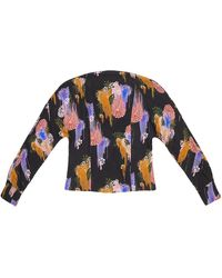 TOMCSANYI Piroska Gloomy Flower Print Open Back Tie Blouse - Multicolor