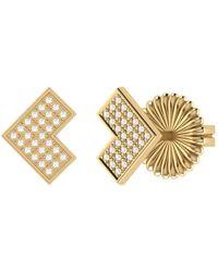 LMJ One Way Stud Earrings In 14 Kt Yellow Gold Vermeil On Sterling Silver - Metallic