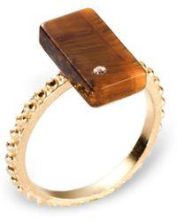 Ona Chan Jewelry - Rectangular Ring Tiger's Eye With Swarovski Crystal - Lyst