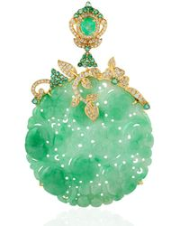 Artisan 18kt Yellow Gold Carving Flower Jade Pendant Natural Emerald Diamond - Green