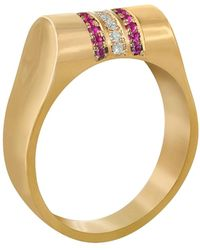 Edge Only 14ct Gold Ruby & Diamond High Top Ring - Metallic