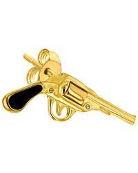 True Rocks - 18kt Gold-plated & Black Retro Pistol Stud - Lyst