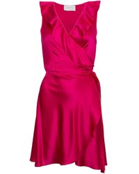 Roses Are Red Silk Mini Wrapdress In Fuchsia - Pink