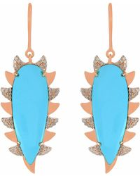 Meghna Jewels - Claw Drop Earring Turquoise & Diamonds - Lyst