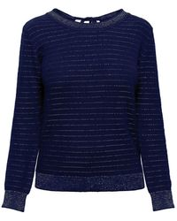 Rumour London Lulu Tie-back Cotton & Modal Jumper With Metallic Stripe - Blue
