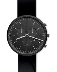 Uniform Wares Men's M42 Precidrive Chronograph Watch In Pvd Black With Nitrile Black Rubber Strap