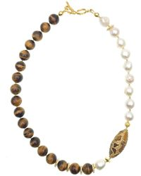 Farra Freshwater Pearls With Tiger Eyes & Rhinestones Short Necklace - Multicolour