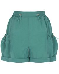 Nocturne Ruched Mini Shorts With Pockets - Green