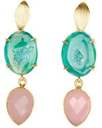 Magpie Rose Green Agate & Pink Chalcedony Cocktail Earrings