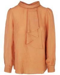 Haris Cotton Linen Blend Blouse With Tie Effect - Multicolour