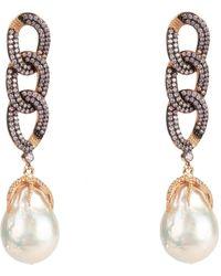 LÁTELITA London Baroque Pearl Link Chain Drop Earring Morganite Pink