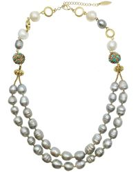 Farra Grey Freshwater Pearls Double Strands Necklace