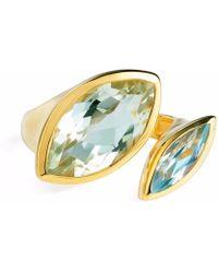 Neola - Celestine Gold Ring Green Amethyst & Topaz - Lyst