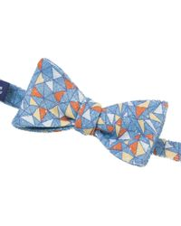 40 Colori - Teal Mosaic Printed Bourette Silk Butterfly Bow Tie - Lyst