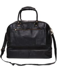 MAHI - Large Leather Raleigh Holdall Overnight/weekend Bag With Under Compartment In Black - Lyst