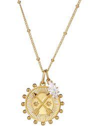 One and One Studio Gold Cross Arrow Medallion Talisman Pendant & Oval Jewel Charm Necklace Pendant Set On Chain - Metallic