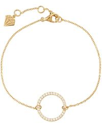 Wanderlust + Co Puffy Pave Round Gold Sterling Silver Bracelet - Metallic