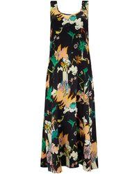 Klements Fleet Dress In Silk Watchtower Print - Multicolour