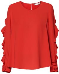 Paisie - Ruffle Sleeved Top In Red - Lyst