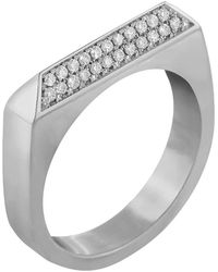 Edge Only Double Diamond Rooftop Ring In Platinum - Multicolour