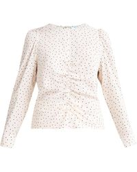 Paisie Diamond Print Blouse In Cream & Brown - Multicolour
