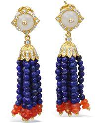 Bellus Domina Lapis Lazuli Tassel Earrings - Blue