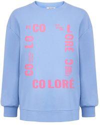 Nocturne Oversized Text Sweatshirt - Blue