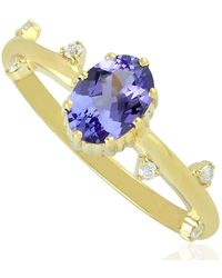 Artisan - Handmade 10k Yellow Gold Natural Tanzanite Stackable Ring Diamond Jewelry - Lyst