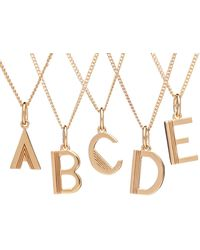 Rachel Jackson London Art Deco Initial Necklace Gold - Metallic