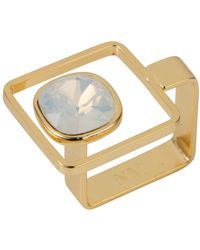 Nadia Minkoff - Square Frame Ring Gold Opal - Lyst