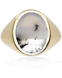 No 13 - Snow Agate Vertical Signet Ring Gold - Lyst