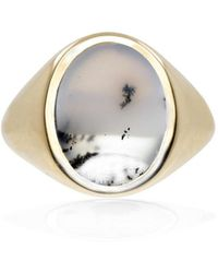 No 13 Snow Agate Vertical Signet Ring Gold - Multicolour