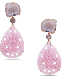 Artisan - 18k Gold Pink Opal Carving Earring With Geode & Pave Diamonds - Lyst