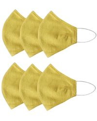 Rumour London Pack Of 6 Linen Protective Cloth Mask In Yellow