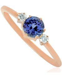 Artisan 10k Rose Gold Natural Diamond Tanzanite Gemstone Handmade Jewellery - Multicolour
