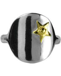 Annabelle Lucilla Jewellery Silver Star Signet Ring - Metallic